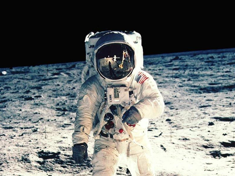 Another image often used by magazines: Aldrin posing for a moon portrait.  (NASA)