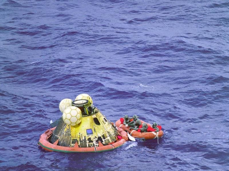 The Apollo 11 command module Columbia splashed down at 11:49 am CDT, July 24, 1969.  (NASA)