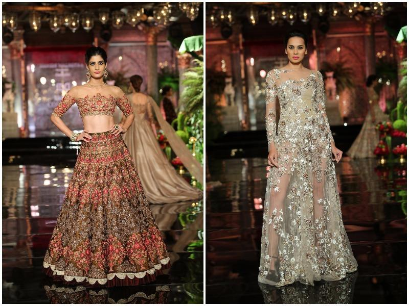 Architectural and chintz-inspired motifs seem to be trending for bridalwear (left); Here's inspiration for cocktailwear done right (right).  (Rajessh Kashyap/ HT Photo)