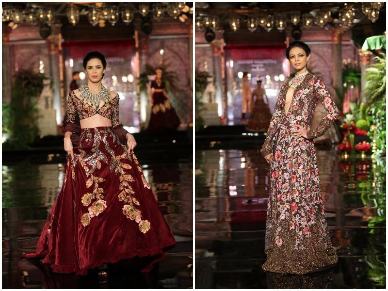 Velvet maroons seem to never go out of fashion. If you don't mind ornate, this could be your bridal pick (left; Florals get a moody tweak with evident Persian detailing (right). (Rajessh Kashyap/ HT Photo)