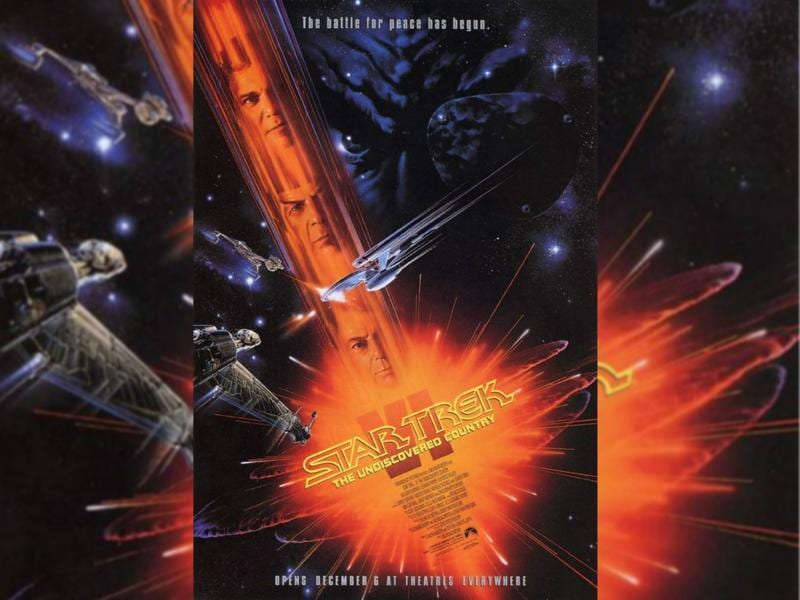 Star Trek VI: The Undiscovered Country (1991) - On the eve of retirement, Kirk and McCoy are charged with assassinating the Klingon High Chancellor and imprisoned. The Enterprise crew must help them escape to thwart a conspiracy aimed at sabotaging the last best hope for peace. (Paramount Pictures)