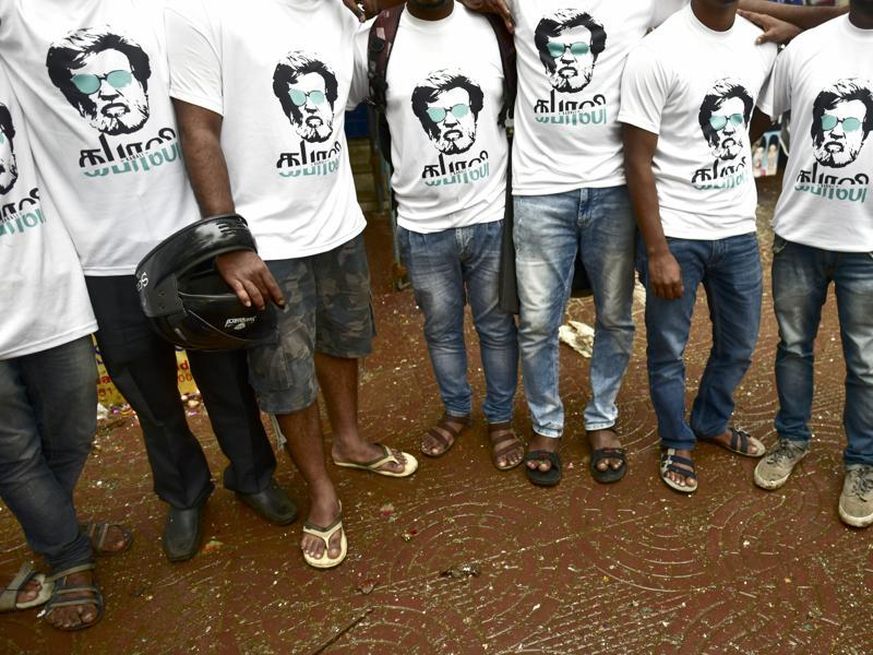 Fans sport Rajinikanth T-shirts to celebrate the release of his film Kabali on Friday. (Photo by Arijit Sen/ Hindustan Times)