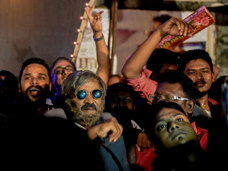 A Rajini fan dons his look from Kabali that releases on Friday. (Pratik Chorge/HT photo)