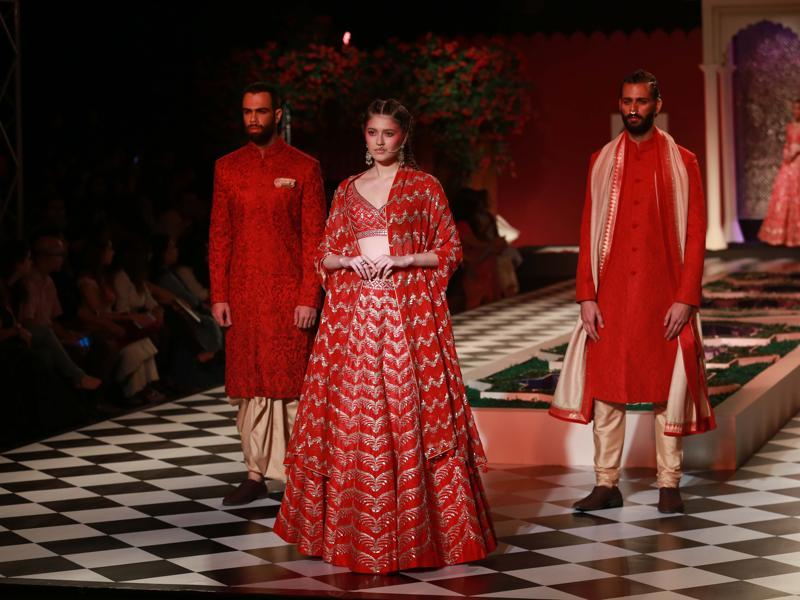 Anita Dongre opened day 2 of India Couture Week with her collection, Epic Love.  Among those who were spotted attending her show included actress Shabana Azmi and fellow designer Manish Malhotra. (Amal KS/ HT Photo)