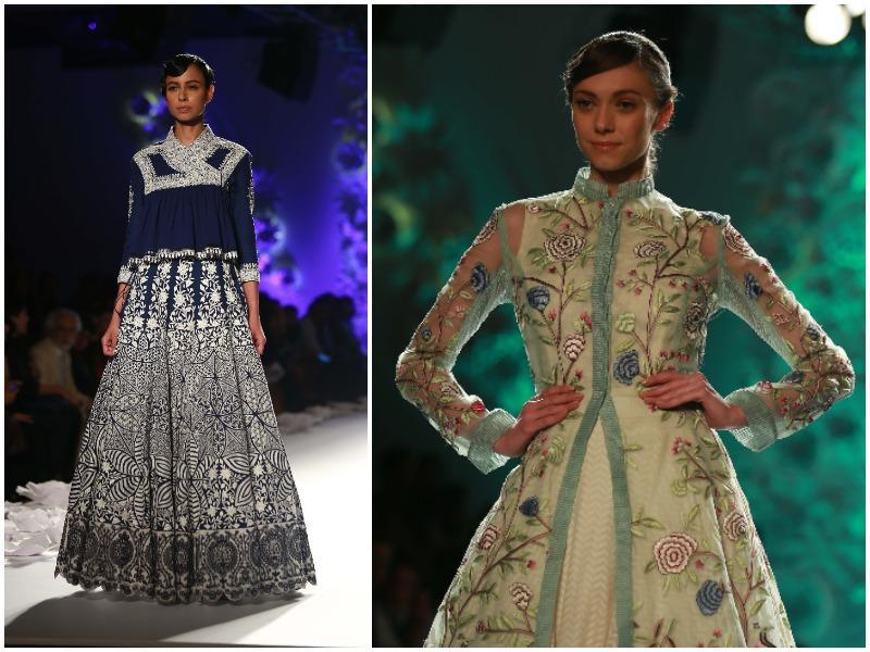 At Rahul Mishra, hand-done embroidery wove a tale of monsoon-inspired motifs including chintz-esque florals and beautifully crafted peacocks.  (Amal KS/ HT Photo)