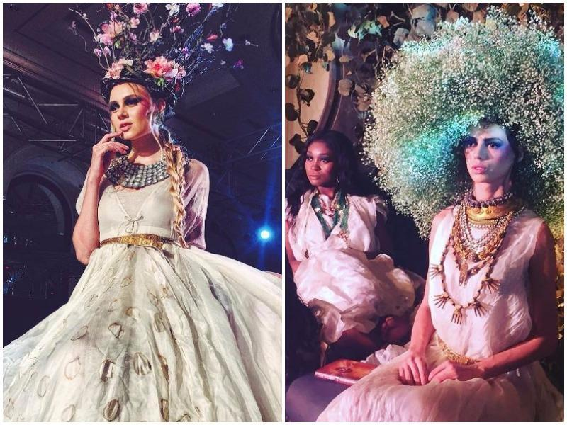 At Anamika Khanna, the ivories came in in quick succession along with romantic rose hues and sneaky shades of yellow.  (Instagram)