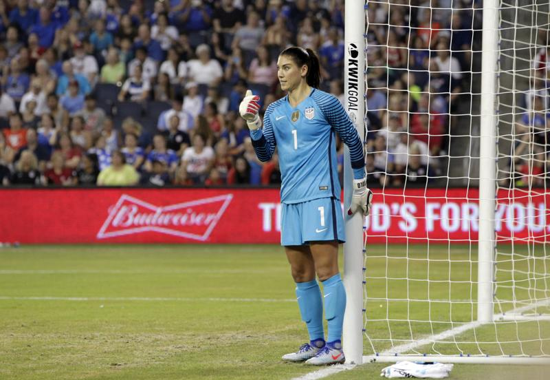 Goalkeeper Hope Solo has been a pillar of the US women's football team for many years, helping them win back-to-back golds at Beijing 2008 and London 2012. (AP Photo)