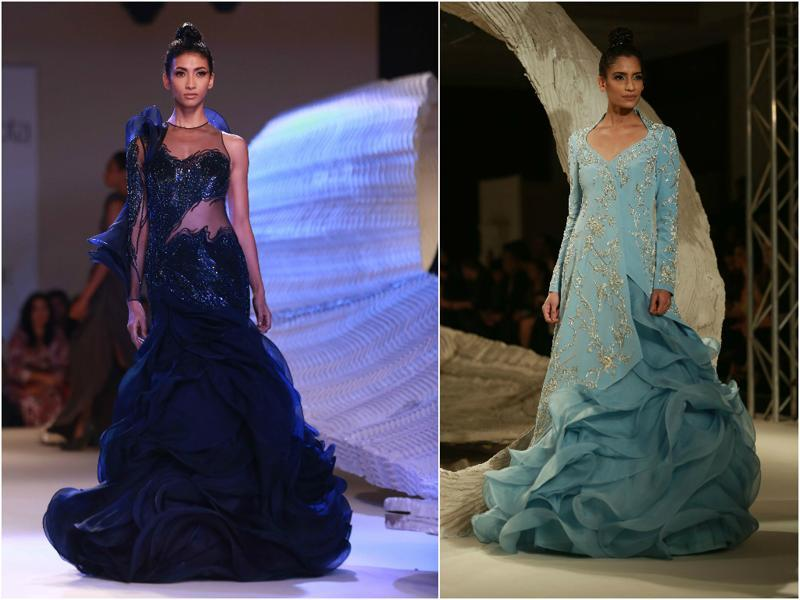 Gaurav Gupta, inspired by Paris, gave ruffled gowns an Indian twist by using ruffles in his sari-gowns. Needless to say, he did not just ace the attempt, he owned it.    (Amal KS/HT Photo)