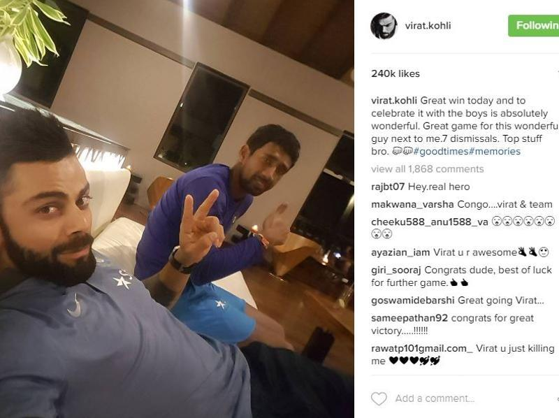 And that's how celeb cricketer Virat Kohli celebrated his victory. (Instagram)