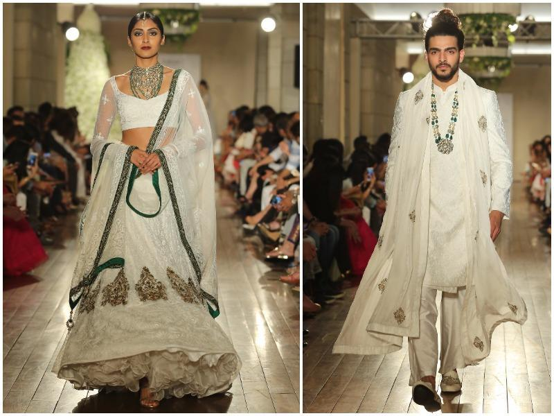 It featured a jewel colour palette featuring stately and opulent tones of Ivory, Black, Navy, Green and Maroon. (Rajessh Kashyap/HT Photo)
