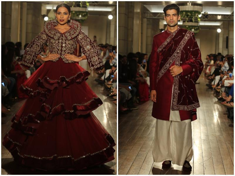 Flared pants were the highlight at Gangwani's show. Ditching the conventional churidars and straight pyjamas, the male models paraded in flared pants. These were teamed with velvet jackets, kurtas and stoles. (Rajessh Kashyap/HT Photo)