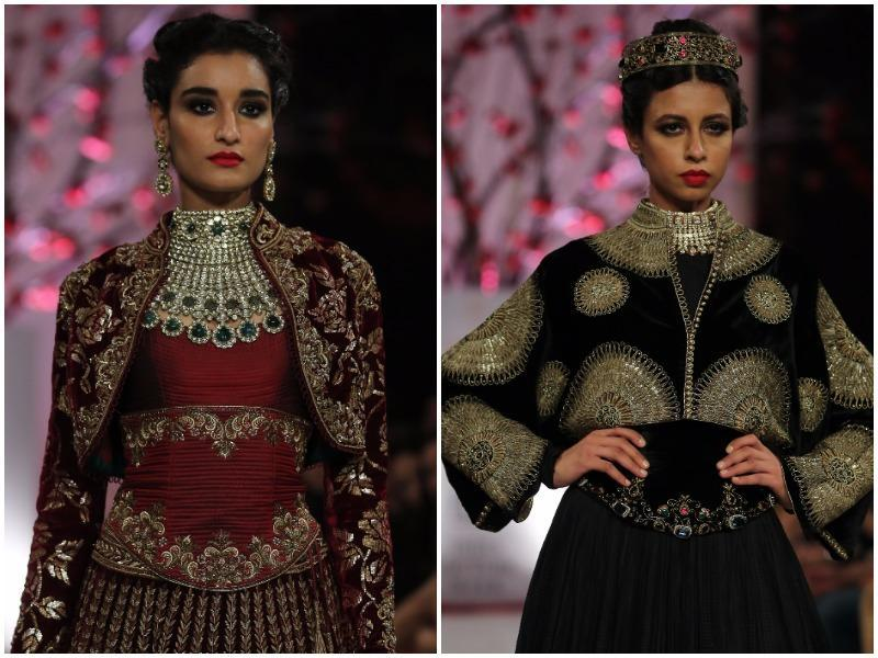 Are you over the reds and maroons? Good for you as black is the hot colour for bridalwear, as shown in Bal's collection. (Rajessh Kashyap/HT Photo)