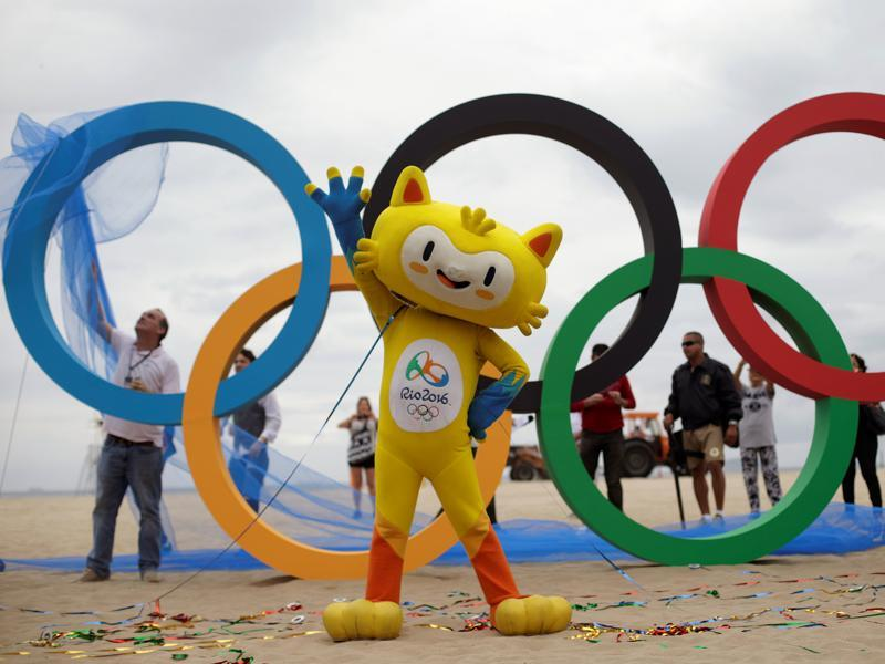 The 2016 Rio Olympics mascot Vinicius attends the inauguration ceremony of the Olympic Rings. (Reuters photo)