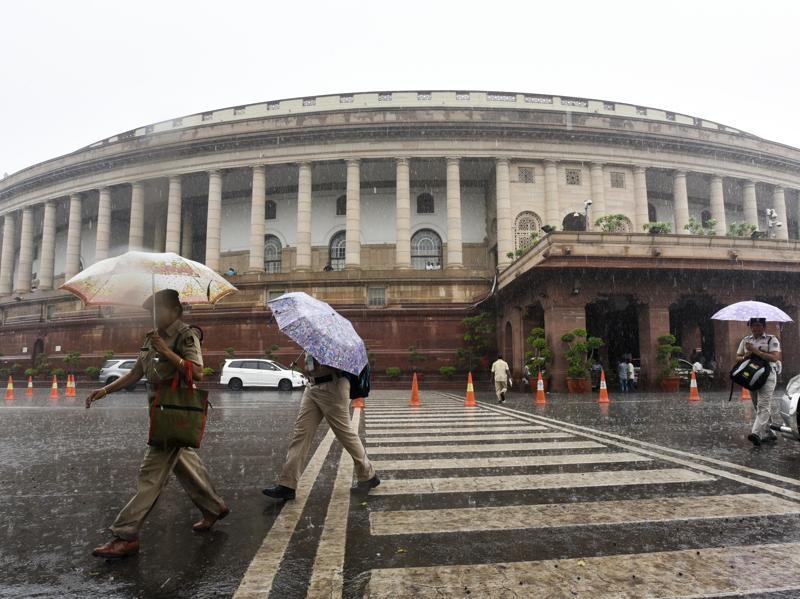 A view of the Parliament House as Delhi received heavy rain during the ongoing monsoon session.  (Sonu Mehta/HT Photo)