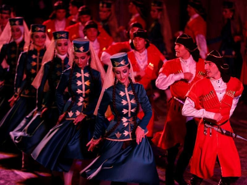Dancers from the Ahli Club for Circassian Dance perform at the Southern theatre during the Jerash Festival of Culture and Arts in the ancient city of Jerash, north of Amman, Jordan, July 26, 2016.  (REUTERS)