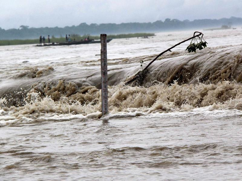 A view of a flood water near Manas National Park in Baksa district of Assam on Monday. (PTI Photo)