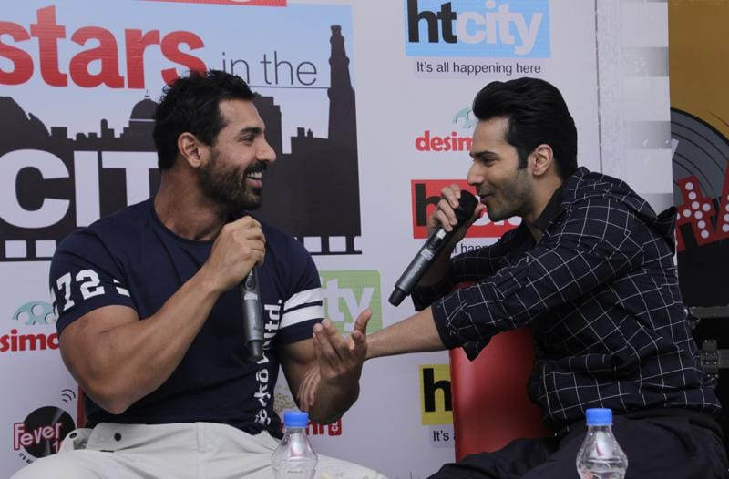 Clearly, Varun can't keep his hands off John! (PHOTO: SHIVAM SAXENA/HINDUSTAN TIMES)