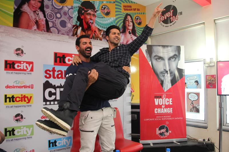 John Abraham and Varun Dhawan did not shy of flaunting their bromance when they visited the Delhi office of Hindustan Times on Tuesday. Check out the pics.  (PHOTO: SHIVAM SAXENA/HINDUSTAN TIMES)
