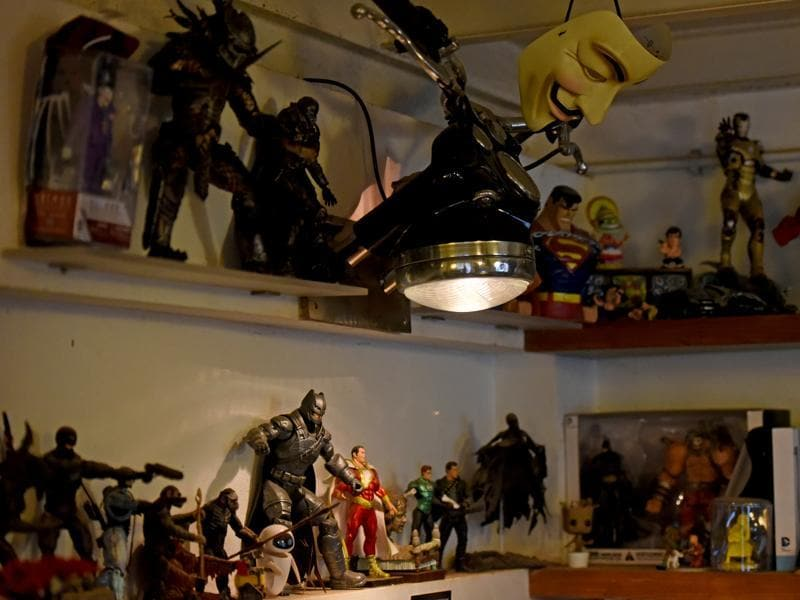 A corner of Studio 823's office is dedicated to super hero figurines (Photo: Pratik Chorge/HT)