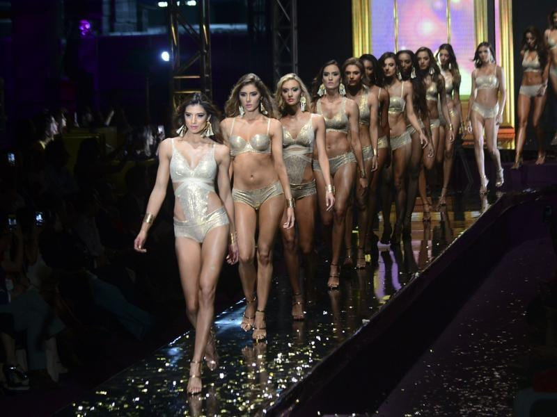 Models present creations by Colombian designer Leonisa during the Colombiamoda fashion show. (AFP)
