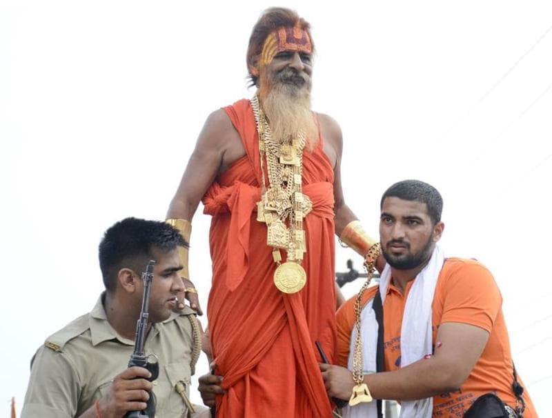 The Golden Baba during the Kanwar yatra in Ghaziabad on Thursday.  (Sakib Ali /ht photo)
