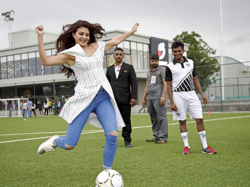 It may not be the perfect kick, but actor Jacqueline Fernandez sure knows how attract attention. In Ahmedabad on Wednesday to promote her film Dishoom, going by this picture, we are sure the film was nowhere on her mind.  (PTI)