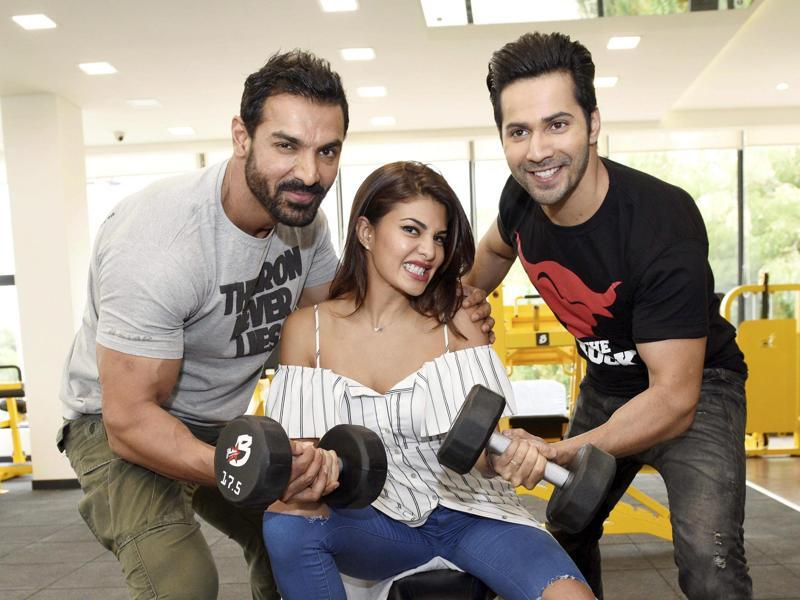 Now she turns into a weightlifter. With help from John Abraham and Varun Dhawan, wonder if this pose has anything to do with the film.  (PTI)