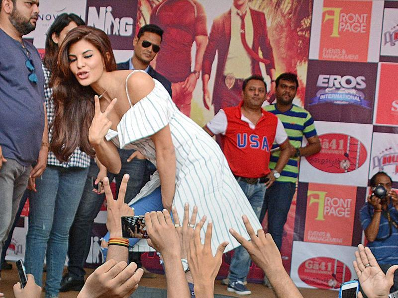Jacqueline's fans in Ahmedabad couldn't have enough of her during the promotion.  (PTI)