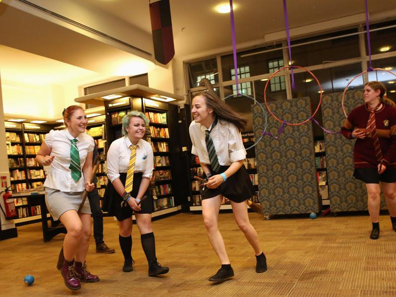 Fans play the fictional game of Qudditch at an event to mark the release of the book at a store in London. (REUTERS)