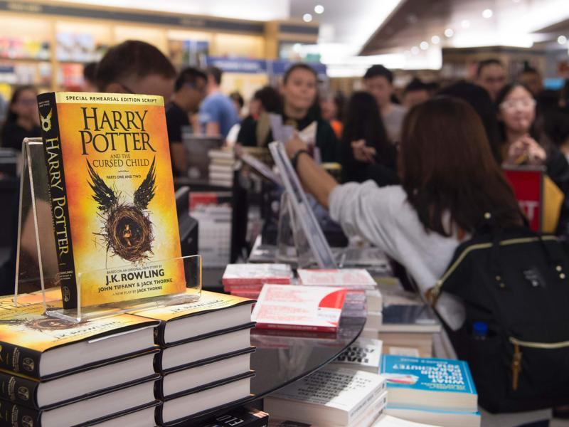 Stacks of the new book at a store in Singapore on Sunday.  (AFP)