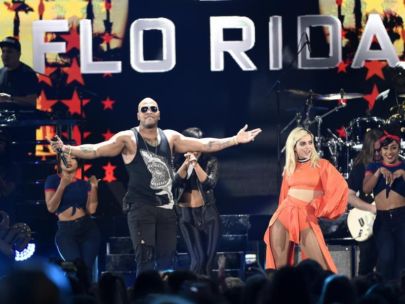 Bebe Rexha, right, and Flo Rida perform at the Teen Choice Awards at the Forum. (Chris Pizzello/Invision/AP)