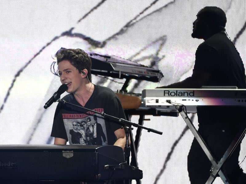 Charlie Puth performs We Don't Talk Anymore at the Teen Choice Awards at the Forum in Inglewood, Calif.  (Chris Pizzello/Invision/AP)