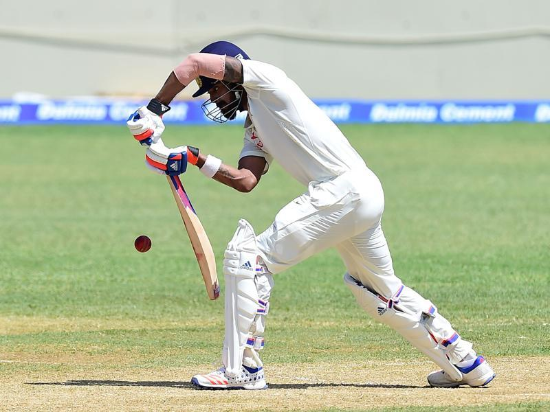 Last time India played at  Sabina Park in Kingston, a Rahul—the great Rahul Dravid—had scored a century. On Sunday, his namesake KL Rahul scored big when India needed someone to anchor the first innings of the second  Test against the West Indies. Rahul's ton (158 off 303 balls) was solid--tight defence complimenting flourishes to the boundary--à la Dravid!  (AFP)