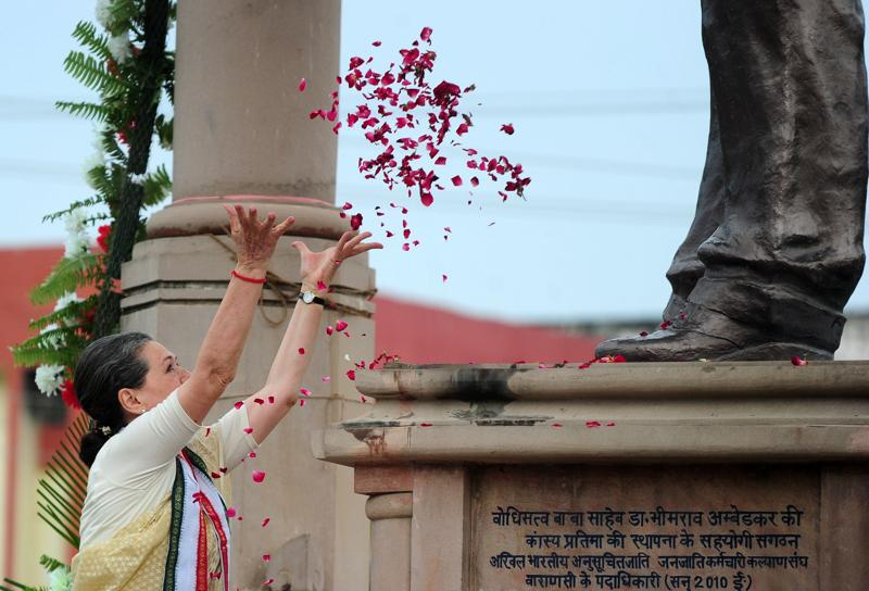 Congress president began her road show in the poll-bound state by paying tributes to Dalit icon BR Ambedkar.  (AFP)