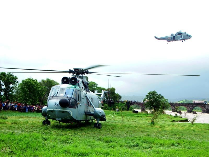 Indian Navy Seaking 42C, an all weather aircraft with diving team has been launched by the Navy for the search and rescue operation after the bridge over Savitri river at mahad washed away by heavy rain.