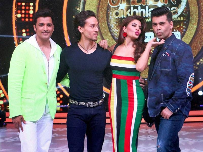 Tiger Shroff, Jacqueline Fernandez, Karan Johar and choreographer Ganesh Hegde during the promotion of film A Flying Jatt on the sets of a television dance show in Mumbai on Tuesday.  (PTI)