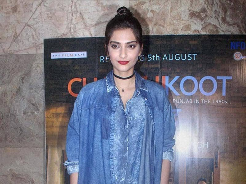 Sonam Kapoor attended a special screening of Punjabi film Chauthi Koot in Mumbai on Monday . (PTI)