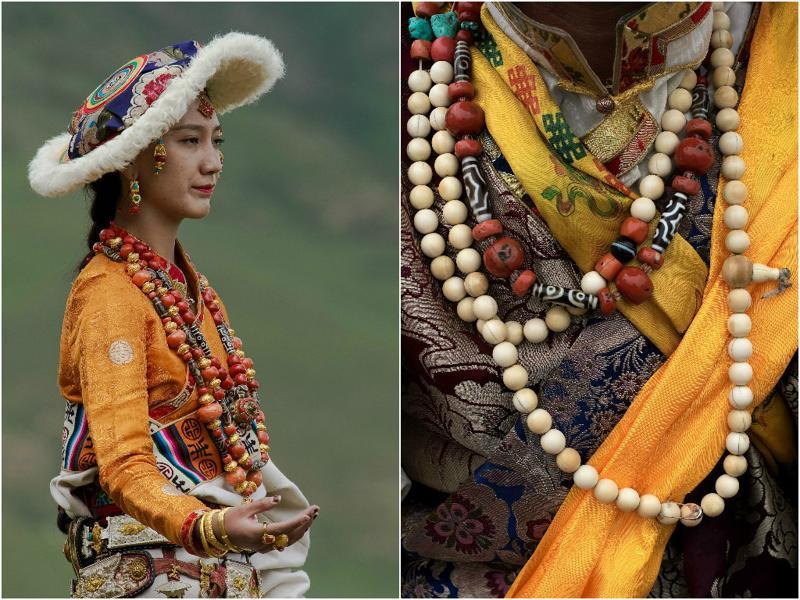 Prayer beads, hat, silks and beautiful drapes... Tibetan attire is its full glory.  (AFP)
