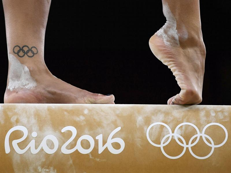 Close up of the feet of British gymnast Rebecca Downie of United Kingdom as she trains on the beam. (Reuters Photo)  (REUTERS)
