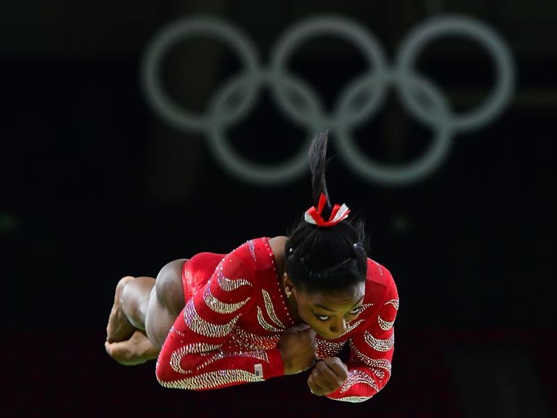 US gymnast Gabrielle Douglas practices on the vault during a training session at the women's Artistic gymnastics at the Olympic Arena on Thursday. (AFP Photo) (AFP)