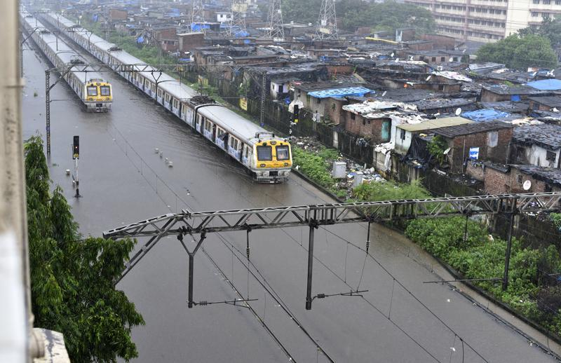 Water logged between Sion and Matunga stations after heavy rains in Mumbai on Friday. (Vijayanand Gupta)