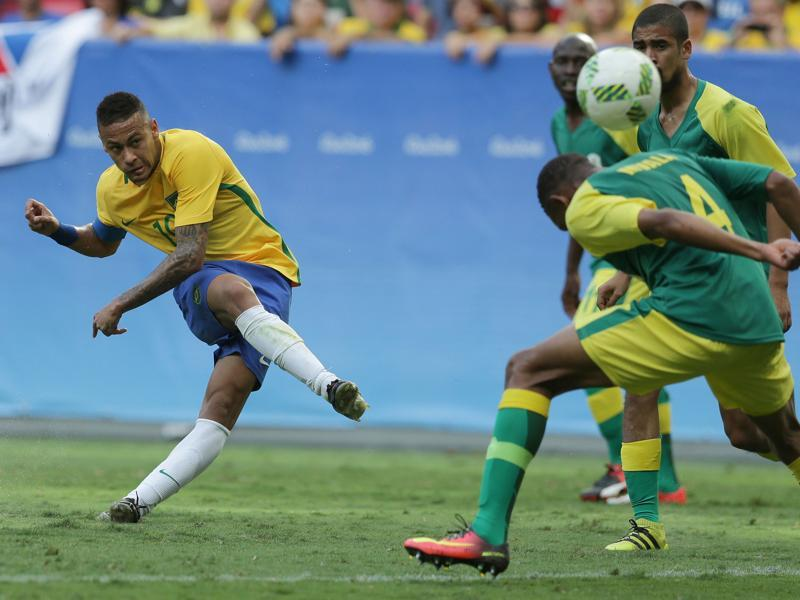 Neymar, however, came close to breaking the deadlock in the second half, curling the ball just over the bar with a strike from the left side of the South Africa penalty box. (AP)