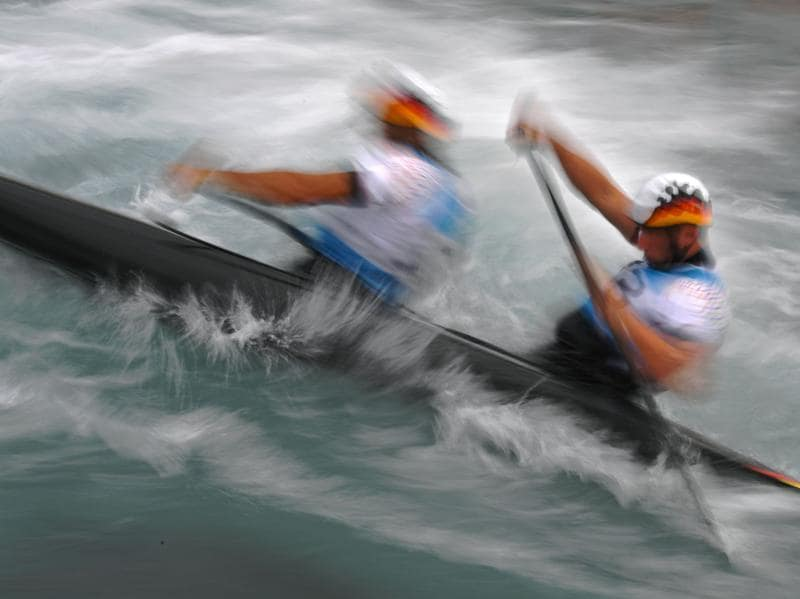 German canoeists Franz Anton (left) and Jan Benzien (right) take part in a training session at the Canoe and Kayak White Water X-Park stadium in Rio. (AFP Photo) (AFP)