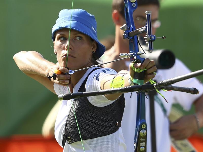 Finland's Taru Kuoppa during the  women's individual ranking round in archery at the Rio Olympics on Friday. (REUTERS)