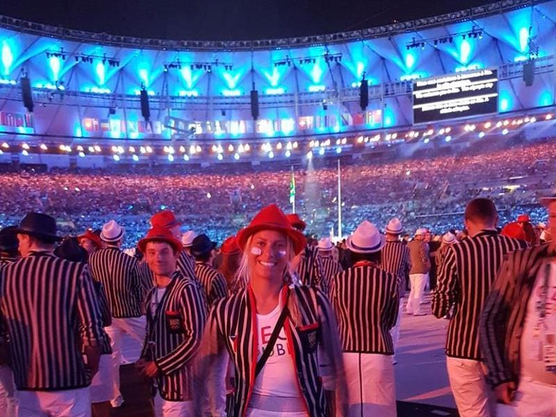 "Czech Republic's Andrea Hlavackova posted this picture on twitter with the caption: ""What a feeling to be part of this evening,so grateful and humble for being here #czechteam #OpeningCeremony #Rio2016"""