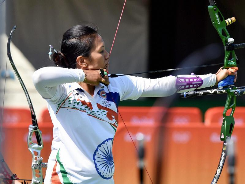 India's Bombayla Devi in action on Friday. India finished seventh in the team ranking round, and will next face Colombia. (PTI)