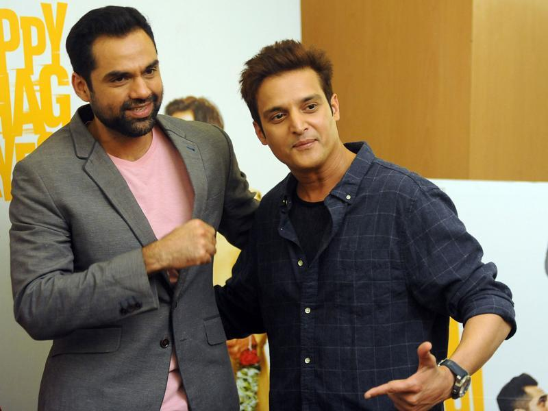 Abhay Deol and Jimmy Shergill pose for a photograph during a promotional event for the forthcoming Hindi film Happy Bhaag Jayegi. (AFP)