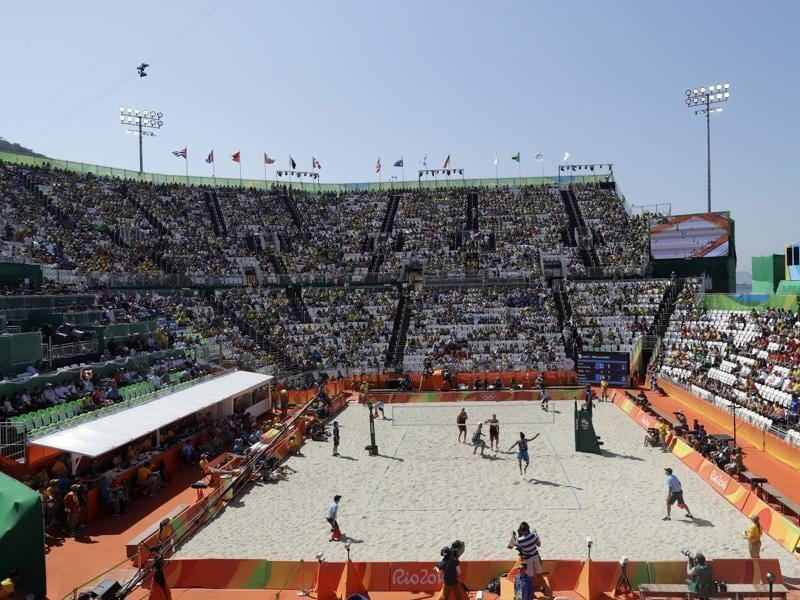 An overall view of the Olympic beach volleyball venue as Brazil plays Canada during a men's beach volleyball match at the 2016 Summer Olympics in Rio de Janeiro on Saturday. (AP)
