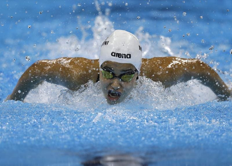Yusra Mardini, swimming for the Refugee Olympic Team, competes in a women's 100m butterfly heat (AP)