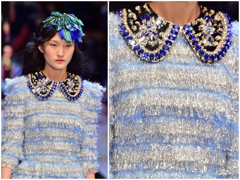 Electric blue, pale blue, turquoise, navy and lavender: The fashion houses are giving all shades of this cool colour pride of place in their Fall/Winter 2016 collections.  Touches of sky blue at Dolce & Gabbana. (AFP)